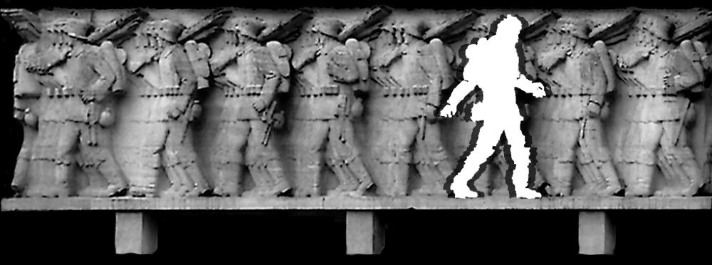 Kriegsklotzfries mit Deserteur